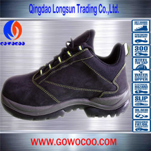 Wearable Suede Leather Double Density PU Fashion Safety Shoes/Footwear (GWPU-1006)