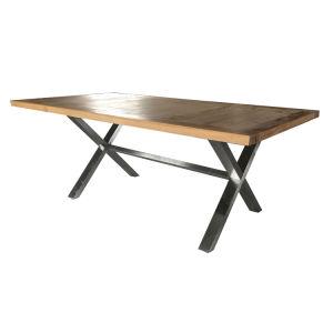 Metal Cross Leg Dining Table