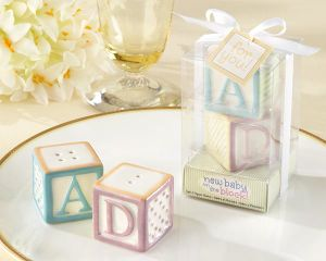 "New Baby on The Block"" Ceramic Baby Blocks Salt & Pepper Shakers Wedding Favors Baby Shower Centerpieces Accessories"