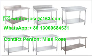 Popular Supply Knocked-Dowm Kitchen Equipment Two Tiers Stainless Steel Work Table pictures & photos