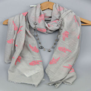 Girls Embroidery Pink Fish Cotton Woven Scarf
