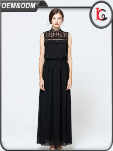 Wholesale 2017 New Design Dress Women Summer Casual Black Lace Chiffon Long Maxi Lady Dress pictures & photos