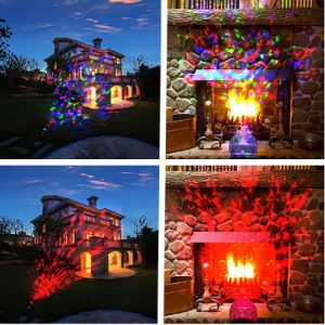 LED White RGB Kaleidoscope Motion Flame Water Wave Spotlight Projector