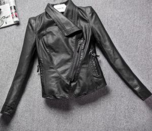 Fashion Cultivate One′s Morality Fake Leather Shorts Jacket Puj0717