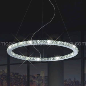 Modern Indoor Decorative Clear Round Eternity Ring Crystal LED Hanging Lamp