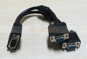 2 in 1 VGA 15 Pin VGA Male to 2 Dual Female Monitor Y Adapter Splitter Video Cable pictures & photos