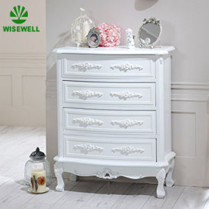 Antique Style 4 Drawer Chest Carved Wooden Bedroom Furniture
