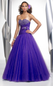 Purple Sweatheart Girl′s Party Prom Evening Dress