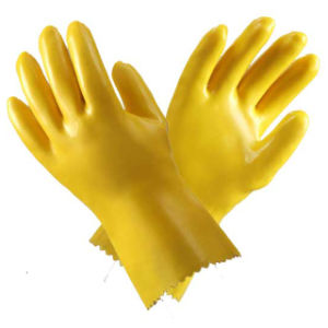 Yellow PVC Household Waterproof Gloves pictures & photos