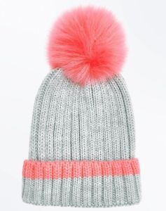 Pink Trim Faux Fur POM POM Bobble Hat Knitted Beanie Women′s Accessories b58a3feb5c