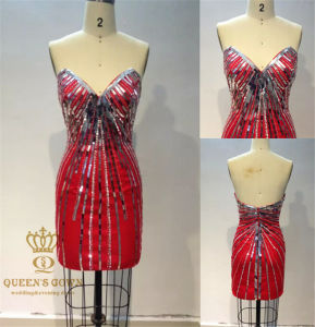 Made in China Sexy Cotail Dress with Heavy Beading