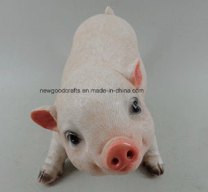 Resin Pig Statue Oranment Black And Pink For Home Or Garden