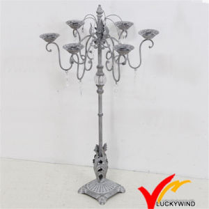 Rustic Grey Antique Metal Candelabra with Crystal Decoration pictures & photos