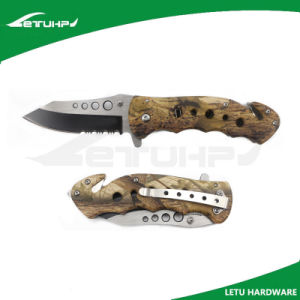 Camo Assited Spring Opening Survival Rescue Knife with Belt Cutter