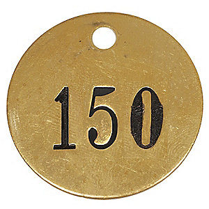 "1-1/2"" Round Brass Tag with Number 126 to 150 (1F029)"