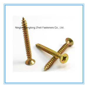 DIN 7505 Yellow Zinc Plated Chipboard Screw pictures & photos
