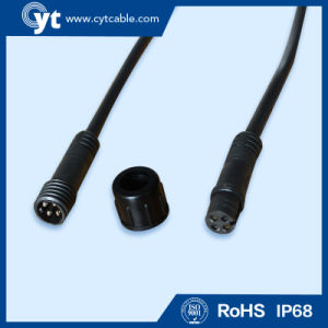 M 14 Black Waterproof Cable with Male & Female Screw 4 Pin Connector pictures & photos
