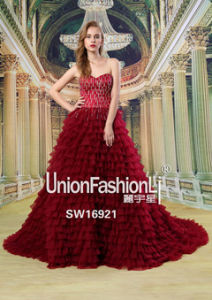 Fashionable Luxury Crystal Rhinestone Lace Up Back Red Christmas Wedding Dresses 2016 New Arrival