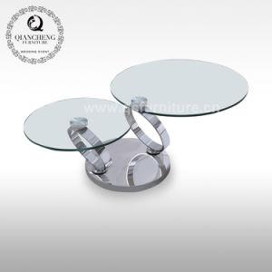 China Home Decor Living Room Modern Glass Round Rotating Coffee Table China Modern Coffee Table Glass Table