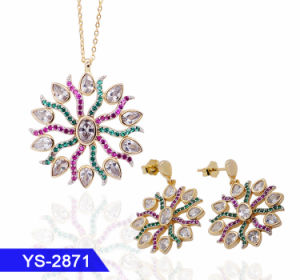 Fashion Jewelry Sets Zircon Necklace Earrings Platinum Plated