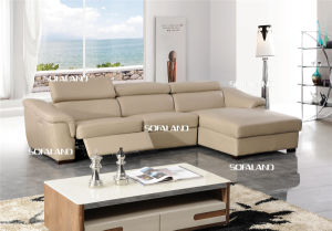 Beige Color Recliner and Storage Chaise Leather Corner Sofa
