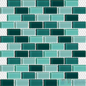 Subway Offset Green Mixed Swimming Pool Tile