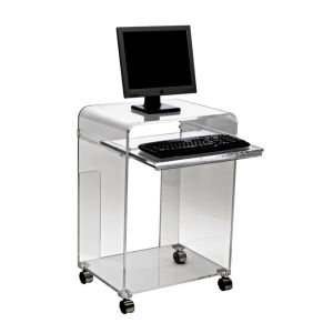 Clear Acrylic Computer Table With Universal Wheel Yyfe001