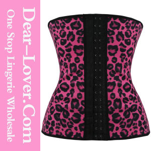 2015 Rosy Leopard Latex Waist Training Underbust Corsets pictures & photos