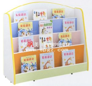Wooden Kids Storage Bookshelf Cabinet with Wheels for Nursery School Furniture pictures & photos
