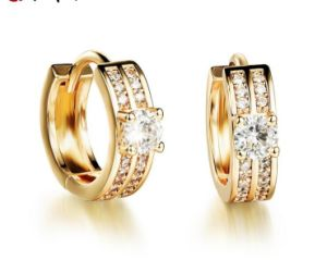 239a65386ba New Gold Silver Plated Classic Baby Cc Hoop Earrings Champagne Huggie Round  Austrian Crystal Statement Jewelry