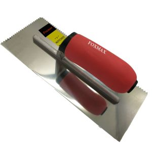 "Stainless Steel Trowel 11""*4-1/2"" V Notched 3/16""*5/32"" with Soft Red Handle (FPT23)"