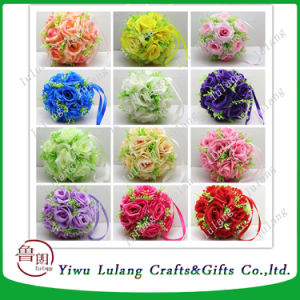 Fabric Artificial Flowers Silk Rose Pomander Wedding Party Home Decoration Kissing Ball