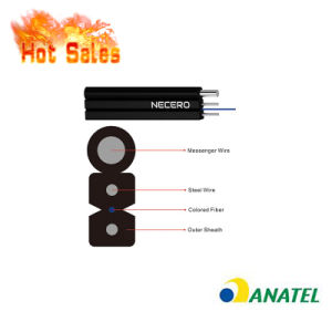 1/2/4/6/8/12cores G657A1/A2 LSZH Single/Mulit Mode Outdoor/Indoor Steel Wire Fibra Optica FTTH Fiber Optic/Optical Flat Drop Cable with Anatel Certificate