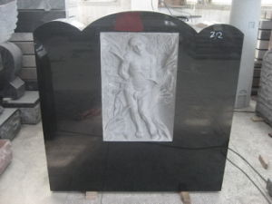 Black Granite Headstone with Carving Jesus (DH-T011)