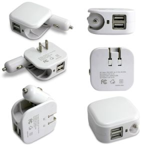Folding Home Travel 5V 2.1A Dual USB Wall Power Adapter 2 in 1 Car Charger pictures & photos
