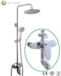 China Factory Supply Shower System Chromed Shower Set With Tub Spout And Rain Shower Head Wall Mounted China Shower Set Bathroom Accessories