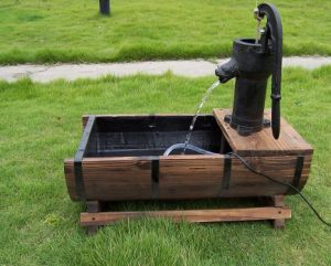 Pump on Wooden Barrel Self Contained Garden & Patio Water Feature
