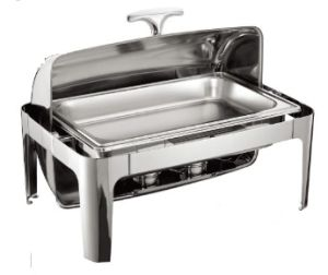Stainless Steel Roll-Top Chafing Dish Set with 2 Food Pans pictures & photos
