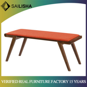 Elegant Bedroom Furniture Fabric Cushion Chair Bench Upholstery Bed End Bolster Stool With Solid Wood Frame