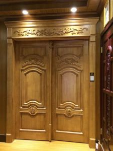 European Style Double Wood Door with Carving for Villa (DS-9010) pictures & photos