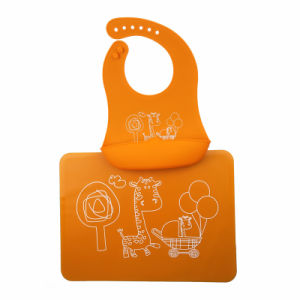 Wipe-off Food Grade Silicone Kids Packageable Bib Placemat Set pictures & photos