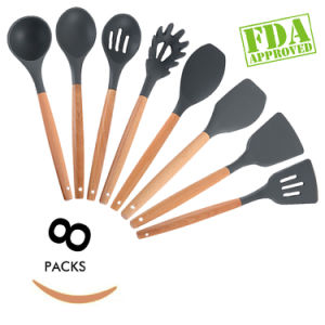 Silicone Kitchen Utensil Set of 8 Pieces with Wood Handle