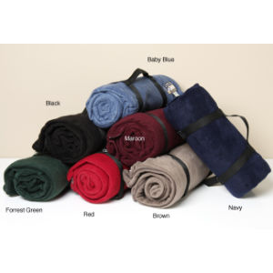 100% Polyester Polar Fleece Blanket for Travel /Camping Throw