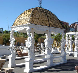 Antique Garden Gazebo with Carving Stone Statue Marble Sculpture (GR013) pictures & photos