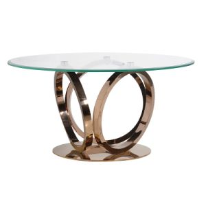 Modern Metal Clear Glass Top Rose Gold Round Glass Dining Table