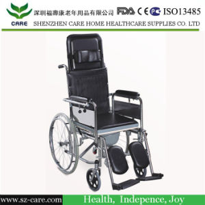 Rehabilitation Therapy Supplies Reclining Commode Manual Wheelchair