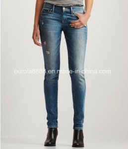 Womens Cotton/Spandex Destroyed Light Wash Jeans Wholesale pictures & photos