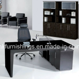 Black Glass Top Staff Office Table