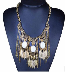 White Tassel Long Chain Big Fashion Necklace (XJW13712) pictures & photos