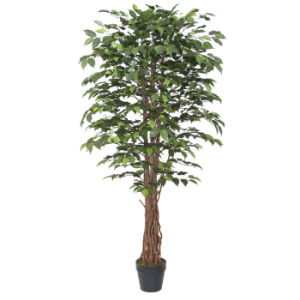 Artificial Ficus Tree Plants with Natural Stem in 8 Inch Plastic Pot